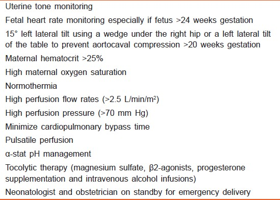 Table 1: Strategies during cardiopulmonary bypass to improve feto-maternal outcomes